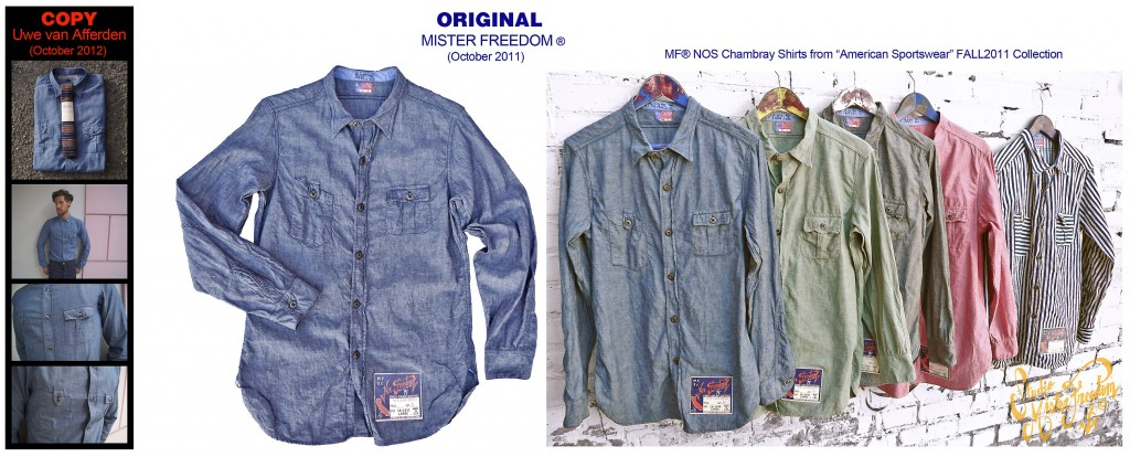 "2012 ""Uwe Van Afferden"" knock-off of our MF® ""NOS chambray"" American Sportswear Collection ©2011"