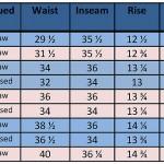 MFSC Indigo Gunslinger Pantaloons sizing chart