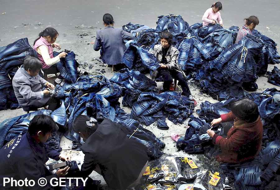Denim Industry workers at Dadun Village, China (Photo by China Photos/Getty Images 2009)