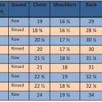 Reno Shirts Sizing chart