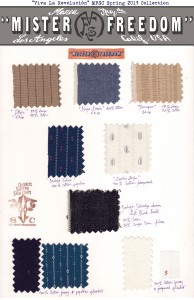 Spring 2013 Fabrics swatches ©2013 Mister Freedom®