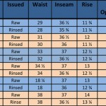 Sportsman Chinos Sizing chart ©2013 Mister Freedom®