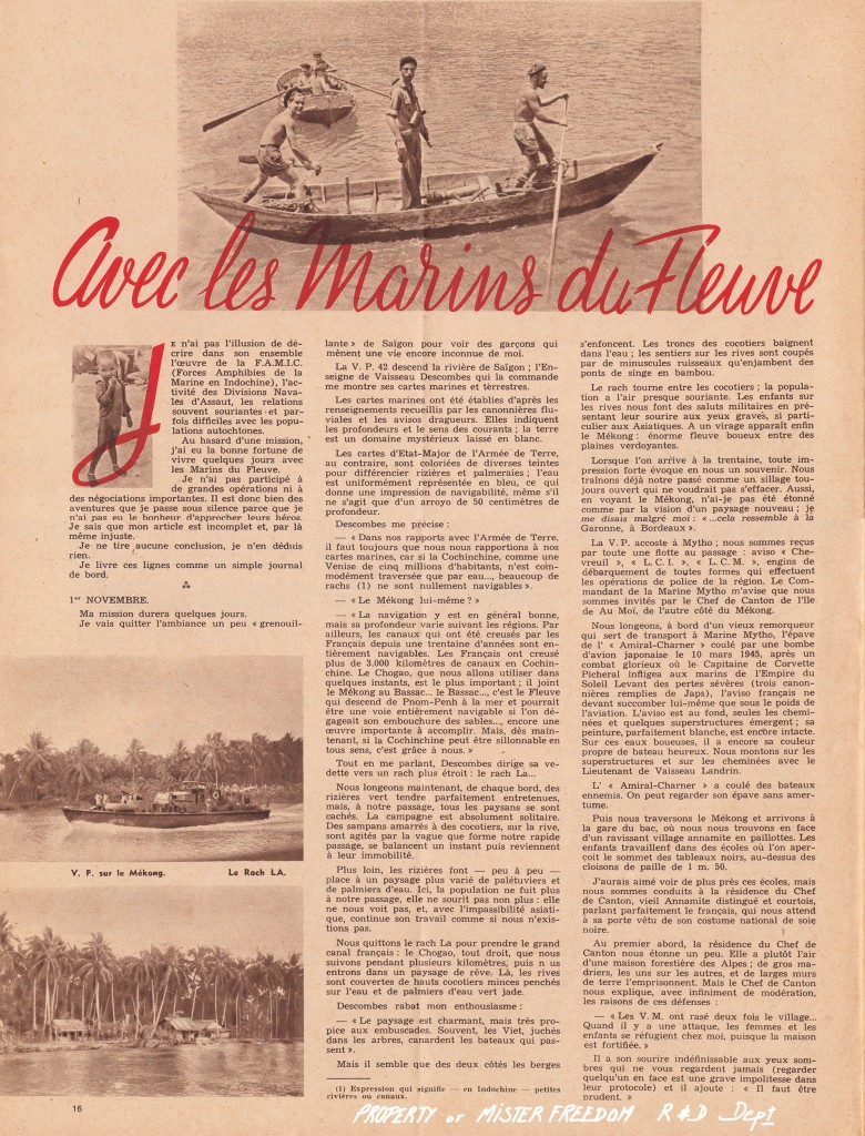 """Marine Nationale Mer et Outremer"" magazine, Feb 1948. Article by J. Raphael-Leygues."