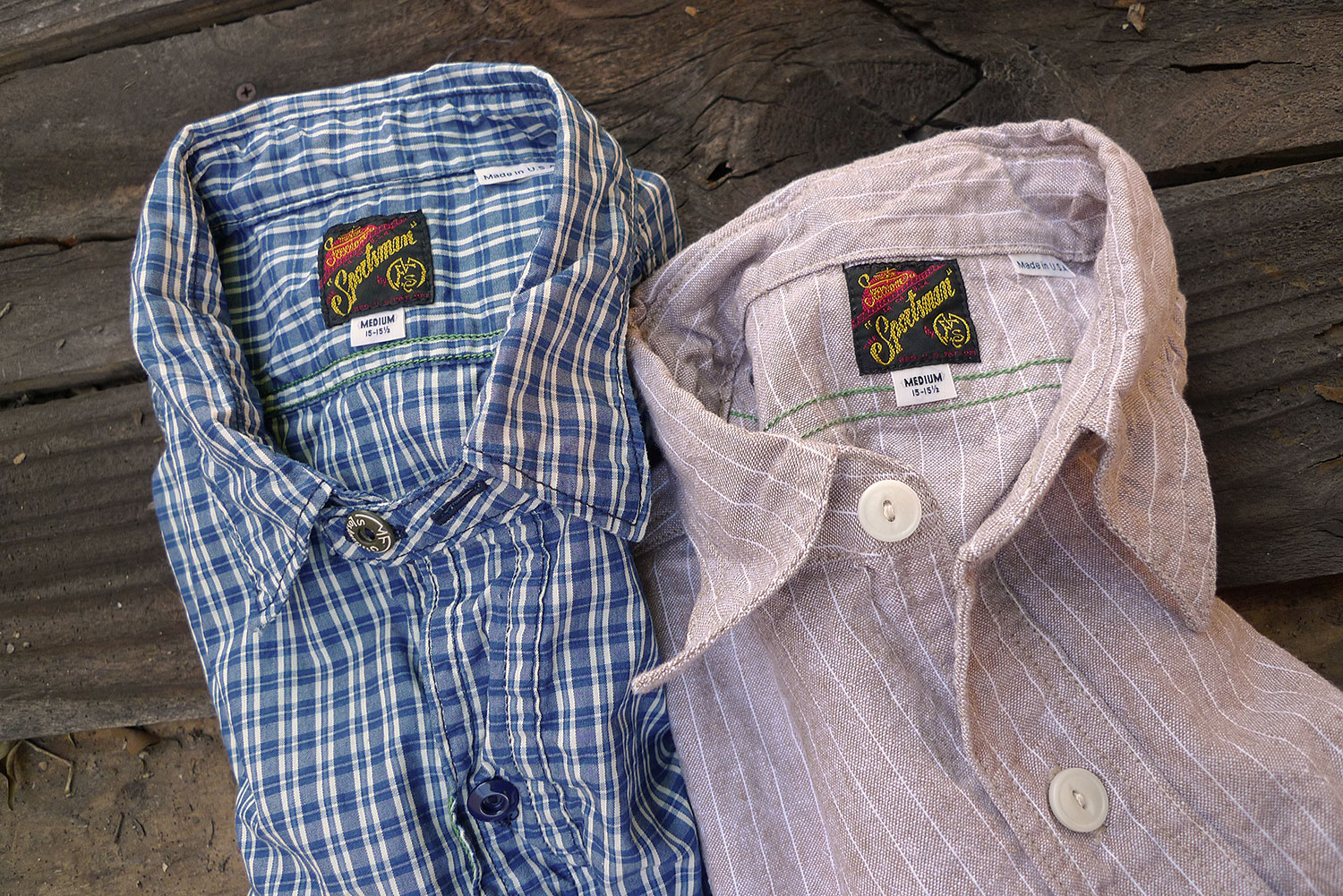 2e7b4943f2 Workman Shirt in NOS stripe cotton-linen chambray & Sportsman Shirt in NOS  woven check, Sportsman catalog Spring 2017, made in USA.