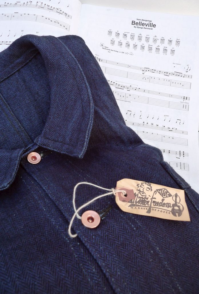 """e1c379f2 Veste Belleville, indigo cotton/linen HBT & cotton covert stripe. """"Gypsy  Blues"""" mfsc collection Spring 2017"""