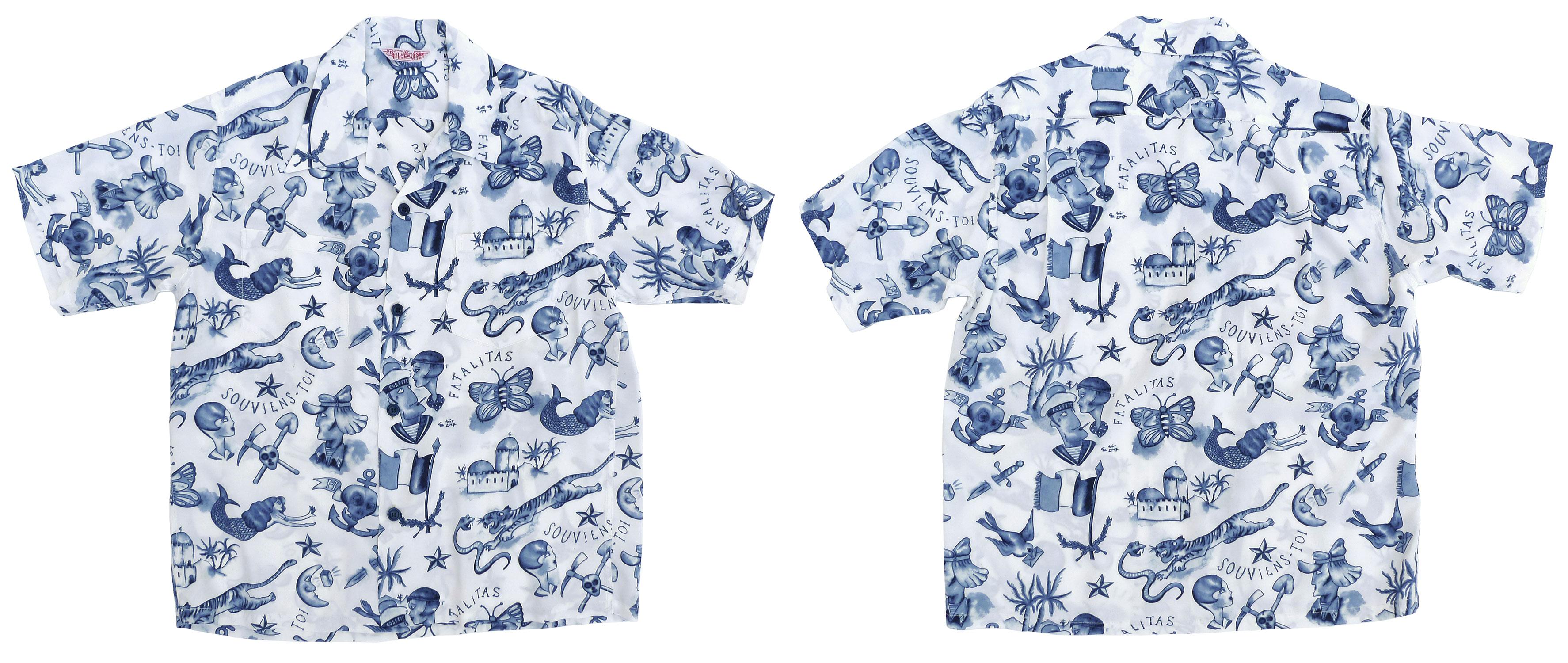"5c66a5f2 Mister Freedom x Sun Surf ""BIRIBI"" Rock'n'Roll shirt, Limited Edition,  Spring 2018."