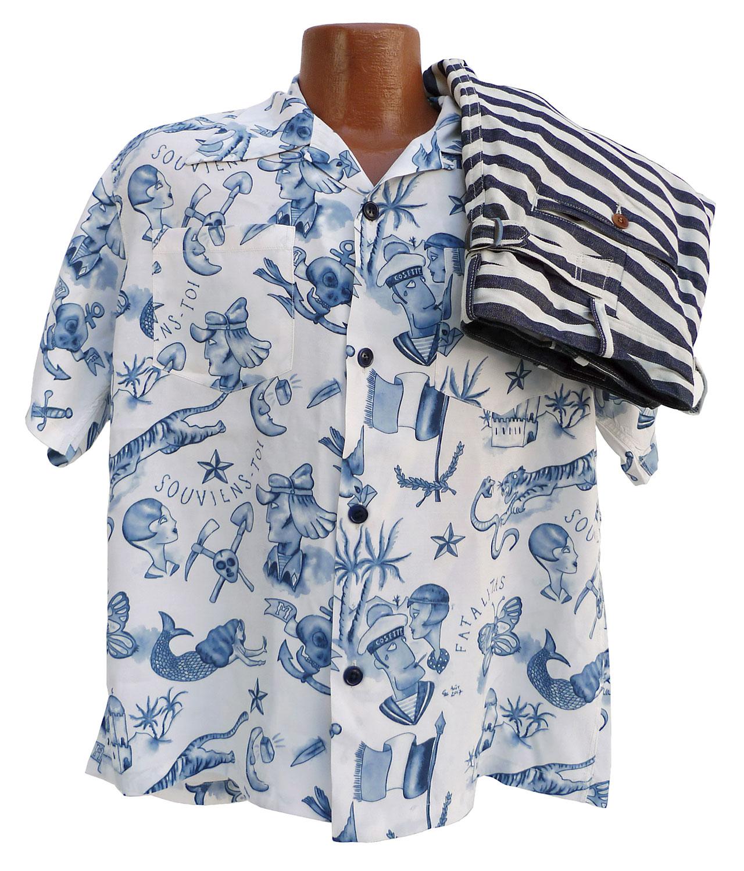 "5fc4cdcb Mister Freedom® x Sun Surf ""Rock & Roll"" shirt, Biribi Edition. mfsc Spring  2018. Made in Japan."