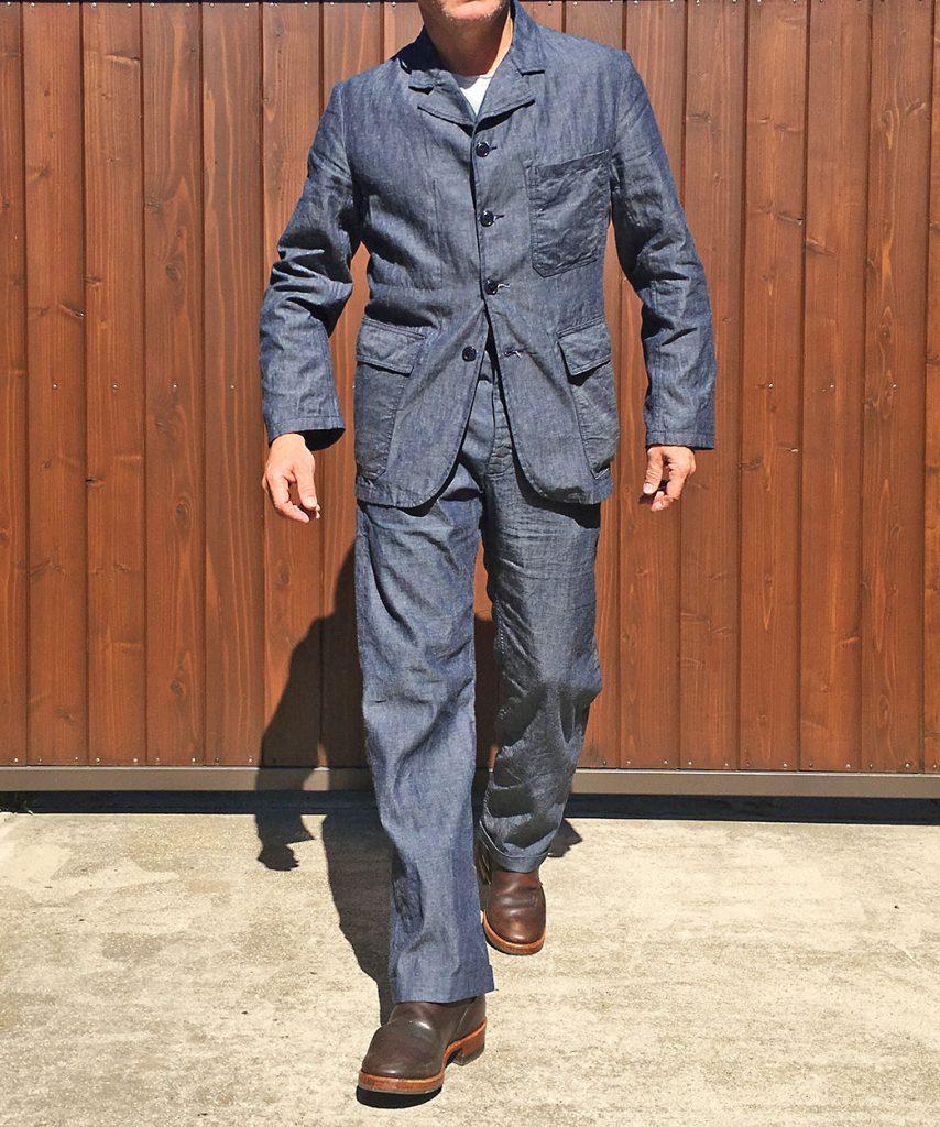 "324b4511e9 Mister Freedom® Continental ""RIVIERA"" Two-Piece Suit (Sportcoat    Trousers). Cotton-Linen Indigo Selvedge Chambray. mfsc Sportsman catalog"